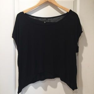 Black Soft Cropped Tee T Shirt Large